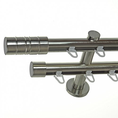 Innenlauf Gardinenstange Edelstahl Look 20mm Wandträger 2-läufig Zylinder, Länge wählbar H40 E34E30, Länge:280 cm