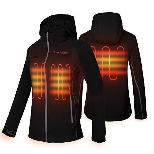 CONQUECO Damen Beheizte Jacke Beheizbare Softshell Heiz Jacke Wasserdicht Winddicht warm mit Akku und Ladegerät zum Outdoor Arbeite