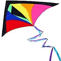 Idea Regalo - Anpro Aquilone Arcobatico Iridescente Arcobaleno Grande per Bambini e Adulti con 60m / 197 Piedi Cavo Aquiloni, Leggero e Resistente