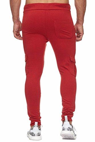 BELLIS® Cargo Trouser with Plain and Zip Jogginghose Sweatpants Herren S-XXXL / T-00013 B.Red