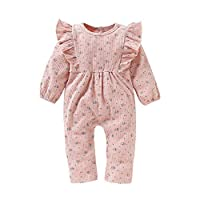 Baywell Newborn Baby Girl Bodysuit One Piece Flower Print Round Neck Clothing Set Outfit Romper Pink