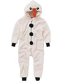 Animal Crazy Garçon Fille Supersoft Paillette Polaire Noël Bonhomme De Neige Nouveauté Pyjama Combinaison