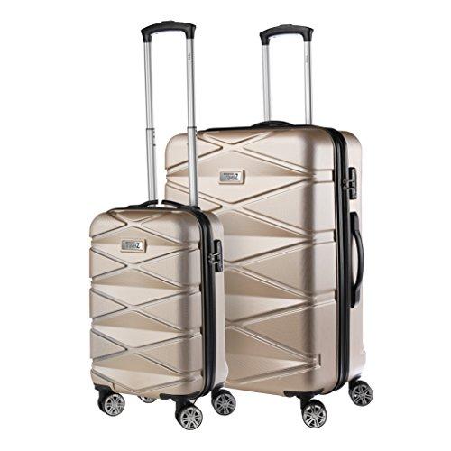Travelz Diamond - Luxuriöses Kofferset - 2-teilig - Trolleyset mit TSA Schloss - Koffer mit Doppelräder und komplett gefüttert (Champagner) -