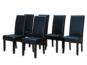 6x esszimmerstuhl kunstleder k chen esszimmer stuhl st hle k chenstuhl schwarz k che. Black Bedroom Furniture Sets. Home Design Ideas