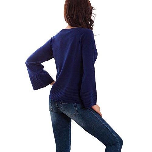 Toocool - Maglione donna pullover taglio morbido manica lunga campana nuovo SA600241 SA600241 Blu