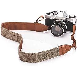 TARION L-241Z bandoulière/sangle de cou/sangle d'épaule amovible au style bohème pour tous les appareils photo dslr Canon Nikon Sony Olympus Pentax etc (Kaki)