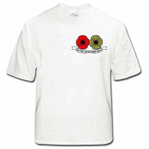Unisex papavero Remembrance Day Maglietta, 100% Cotone, White, small