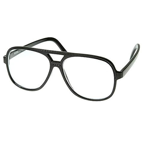 Verres neutres KISS ® style coup culte rétro-MMF film clairement lunettes aviateur cadre optique - NOIR