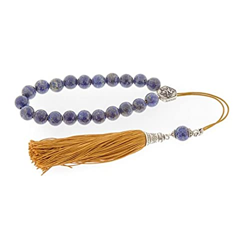 Lapis Lazuli, Pierres précieuses, Perles d'inquiétude artisanales (Komboloi) Argent sterling 925, Signe Horoscope Sagittaire, Longueur