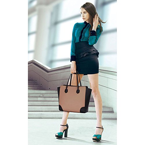 Trend Star Women Handbags Ladies Shoulder Tote Grab designer bags leatherette Schwarz/Nude
