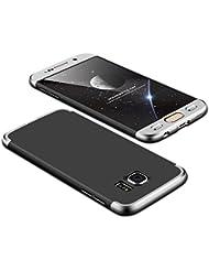 KSHOP Coque 360 Protection PC 3 en 1 en PC Plastique pour Samsung Galaxy S6 360 Protection Entourée Premium Untra-Slim Rigide Shell Housse de Protection Anti- rayures Anti-Scratch Shock Absorption - Argent et Noir