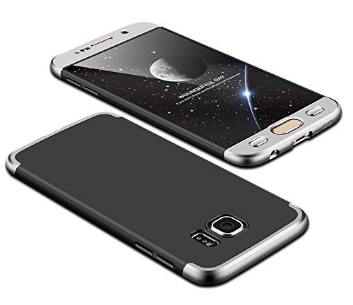 Custodia Samsung Galaxy s6 KSHOP 360 Gradi Full Body Protezione, Sottile Anti-graffio Resistente Cover Duro Custodia Protettiva, cover Samsung Galaxy s6 - argento e nero