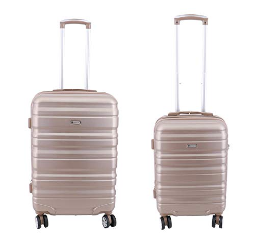 Lot de 2 valises Extensible, Valise Cabine et Valise Taille M 65cm Worldline ABS & Polycarbonate 4 roulettes Serrure TSA (Champagne)
