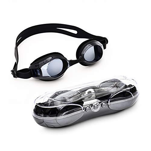 Warmiehomy Fashion miopia occhialini da Nuoto, Nero No Leaking Anti Nebbia Protezione UV Triathlon Nuoto Occhiali per Unisex Adulto Youth Bambini, Nero, -3