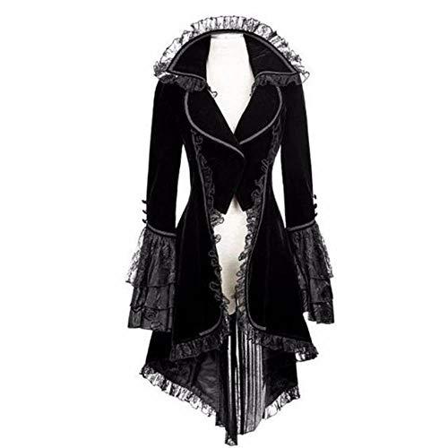 Punk Katze Kostüm - Damen Steampunk Gothic Long Coat,Dasongff Mantel Retro Samt-Frack Jacke Barock Punk Steampunk Vintage Viktorianischen Langer Kostüm Cosplay Kostüm Smoking Uniform
