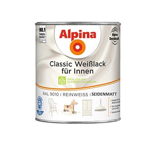 Preisvergleich Produktbild Alpina 750 ml Classic Weißlack für Innen Acryl-Lack, RAL 9010 Reinweiss Seidenmatt