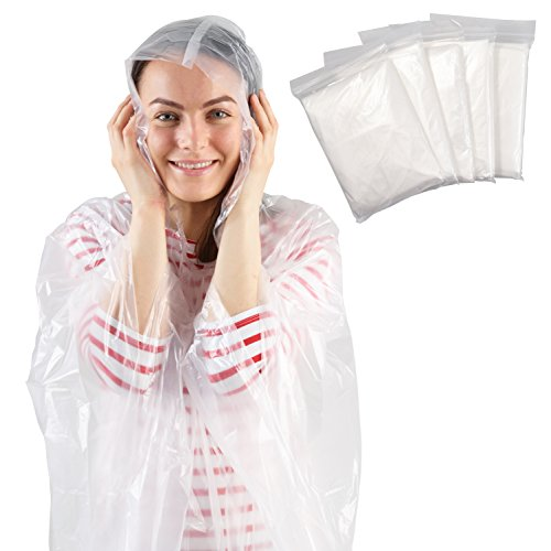 Disposable Rain Poncho - Adult - Transparent - Pack of 5 Emergency Ponchos - Waterproof Mac with Hoods - Perfect for Camping Festivals and Hiking - by Stockhome London