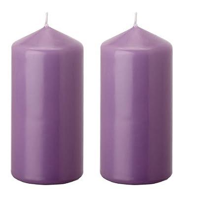 2 X 40 Hours Church - Wedding Pillar Block Candle Purple , Size 14 cm