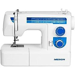 MEDION MD 17187 Freiarmnähmaschine, 65 Stichmuster, Fadenwechsel, 50W Motorleistung, weiß