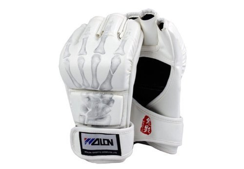 PINKSHE Boxhandschuhe Halbfinger MMA Kampfhandschuhe UFC Sanda Handschuhe Gym Professional Lightweight Protective Gloves Sports Gloves Leather Gloves weiß