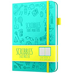 Diario punteado de Scribbles That Matter - Cree su propio organizador de vida único - Sin tapa de A5 Cuaderno de tapa dura - Bolsillo interior - Papel para bolígrafos, versión icónica - Teal