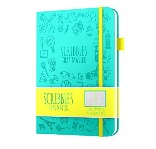 Scribbles That Matter - Gepunktetes Tagebuch A5 Gepunktetes Notizbuch mit Innentasche - Füllfederhalter-freundliches Papier - kultige Version - Blaugrün (Angst Journal)