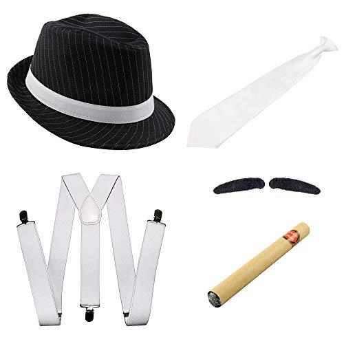 Bad Taste 20er Jahre Gangster Kostüm Set I Hosenträger - Krawatte - Hut - Zigarre - Bart I 5 teiliges Mafia Set für Fasching & Karneval