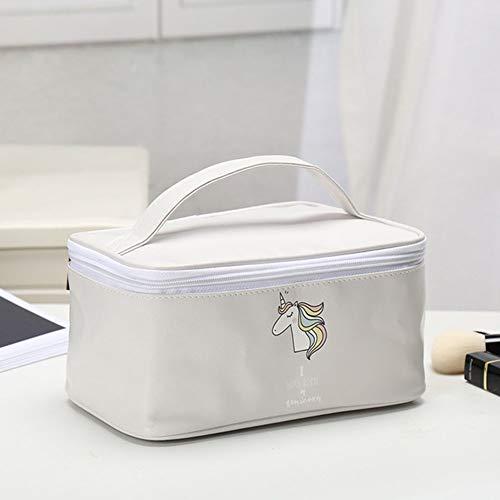 AZXC Aufbewahrung Einfarbige Tragbare Kosmetiktasche des Einhorns, Multifunktionsreisetasche Im Freien Tragbare Quadratische WäSchetasche (22 * 12,5 * 11cm),Gray