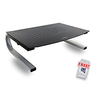ALLSOP ergonomischer Monitorständer I Laptopständer I Bildschirmerhöhung I Drucker-Ständer I schwarz/silber I Metal Art 06480SE