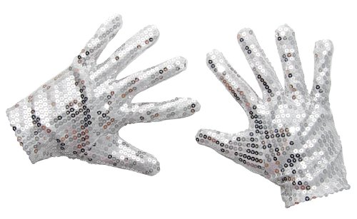 P'tit clown 30260–coppia di guanti a paillette–argento