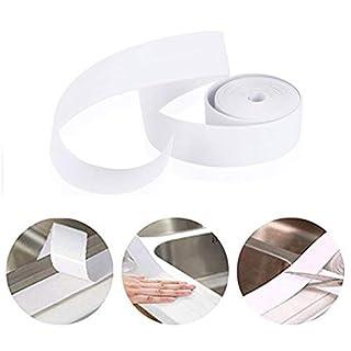 EPHVODI Caulk Strip PE Self Adhesive Sealant Tape Waterproof, Mildewproof Trimmer and Decoration for Tub, Kitchen, Toilet, Wall Corner, Bathroom Edge Sealing, 38mm*3.35m-White