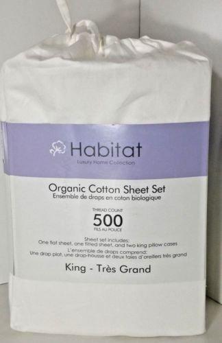 BADHabit 100% zertifizierter Bio Baumwolle 500TC Blatt in Tasche ~ weiß (König) -