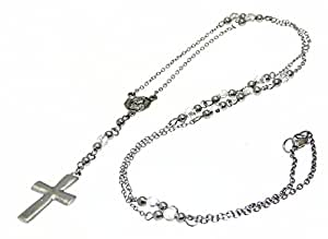 Rosary Bead Necklace Chain with Hematite Cross / Crucifix Pendant - Adjustable