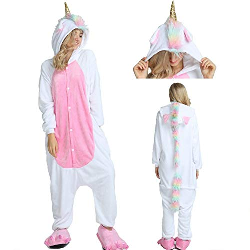 Onesie Animal Kigurumi Unicorn Cosplay Kostüme Tierpyjamas Erwachsener Jugendlicher Karneval Homewear Weihnachts-Overall (Golden Horn Unicore, ()