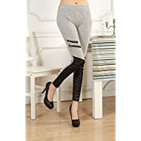 ZHUDJ Cremallera Doble Costura Costuras Leggings Leggings Skinny Pants Nueve,Gris,F