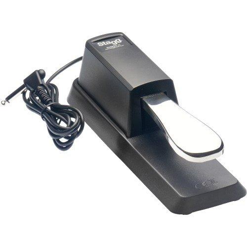 Stagg 21203 verchromtes Pedal mit Polaritätsschalter für E-Piano/Keyboard (1,5m, lange Kabel, 6,3mm Klinkenstecker)