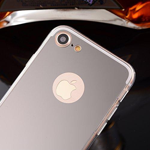 Oceanhome iPhone 7 Spiegel Hülle für Apple iPhone 7 TPU Silikon Mirror Case Hand Cover - Schutzhülle in Silver spiegel Silber
