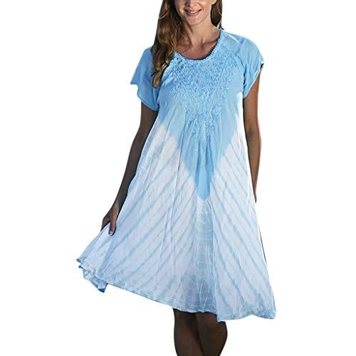 BURFLY Damen Sommerkleid mit Kontraststreifen Kontrastfarbe EIN Wort Rock Damen lose große Größe lässig Swing Rock