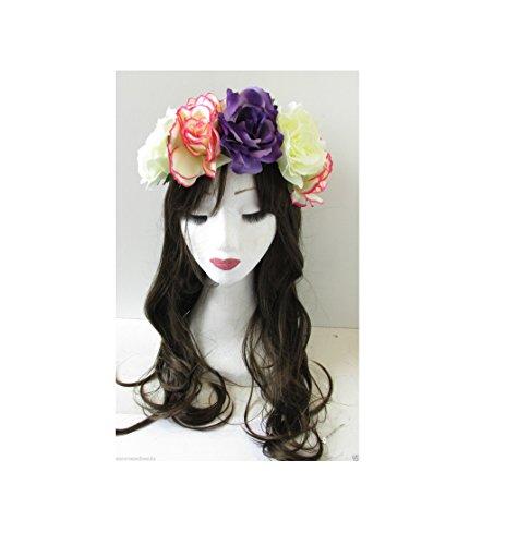Grande fleur rose violet rose Ivoire Bandeau Guirlande/festival/style bohème vintage q36 * * * * * * * * exclusivement vendu par – Beauté * * * * * * * *