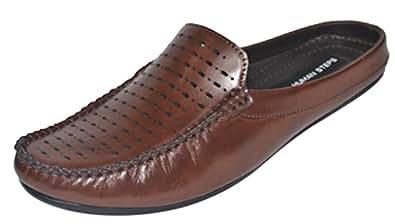 Human Steps Men's Brown Back Open Shoes BR-7