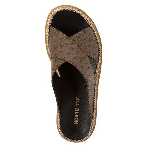 All Black Pressed Cross Lugg Sandal Cuir Sandale Taupe
