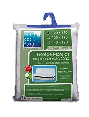 Nuit des Vosges 2090932 Céline Mattress protector for Sofa bed Waterproof Cotton White 190 x 120 cm