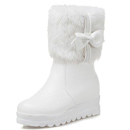 Minetom Damen Mädchen Niedlich Winter Warm Halten Plüsch Kurzschaft Stiefel Mode Bowknot Kurz Stiefeletten Flache Schuhe Ankle Boots Weiß EU 34