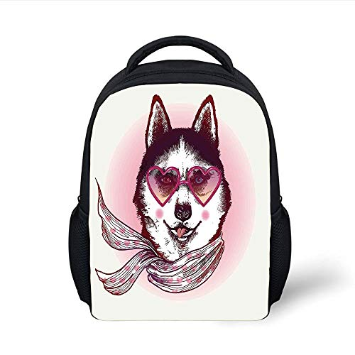 Kids School Backpack Cartoon Decor,Hipster Husky Dog with Heart Shaped Sunglasses and Scarf Fashion Animal Art Print,Pink Cream Black Plain Bookbag Travel Daypack