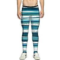 Xingkongzhong Mens Compression Pants Base Layer Running, Cycling, Sports, Training, Weightlifting Tights Blue Strip 3D Print Fitness Sports Tight Leggings