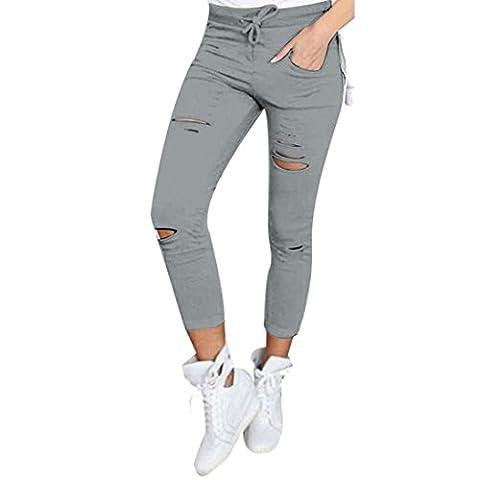 Pantalons,Malloom Pantalons Skinny Femmes Déchirés Haute Stretch Taille Crayon Mince Pantalon (L, Gris)