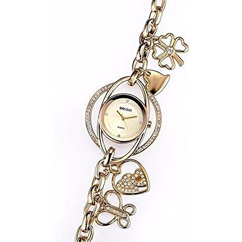downj Fashion da donna Lucky petali Swarovski Cristallo Gold-Tone Charm Bracelet Watch - Fossil Charm Bracelet Watch
