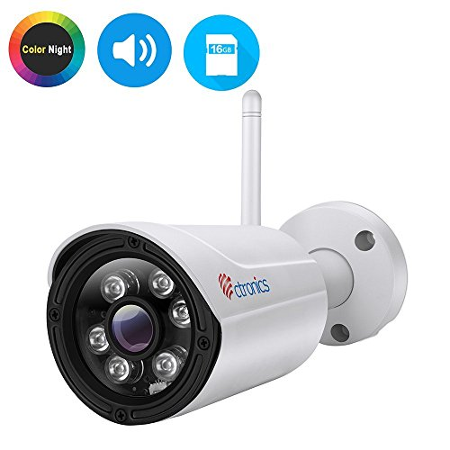 (Color Night)Überwachungskamera,Ctronics Drahtlose IP Kamera Outdoor Wlan Kamera mit IP65,Wifi Security Kamera,HD Bullet,Audio,30m IR,Bewegungserkennung,Email Alarm,PC,Web,Telefon,Tablet,CMS,16GB SD
