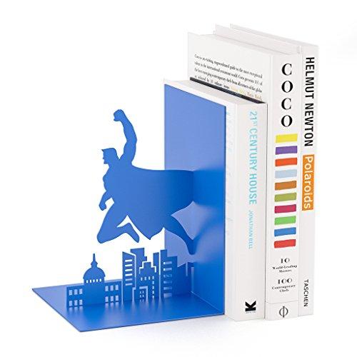 balviBuchstützeSuperheroFarbeblauInFormeinesSuperheldenAusMetall17cm (Blau Bücherregal)