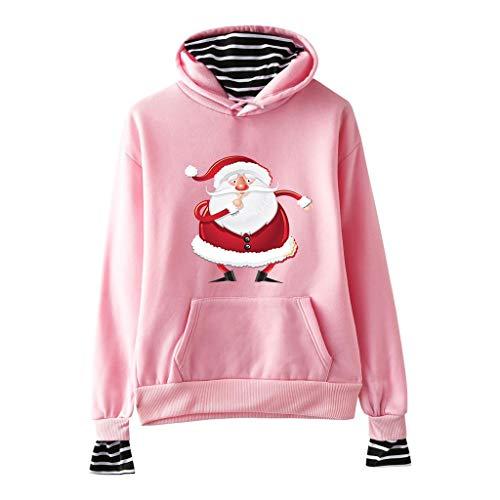 Geilisungren Damen Weihnachten Pullover Kapuzenpullover Langarm Weihnachtsmann Druck Tasche Sweatshirt Gestreift Patchwork Fake Zweiteiler Hoodie Große Größen Weihnachtskostüm